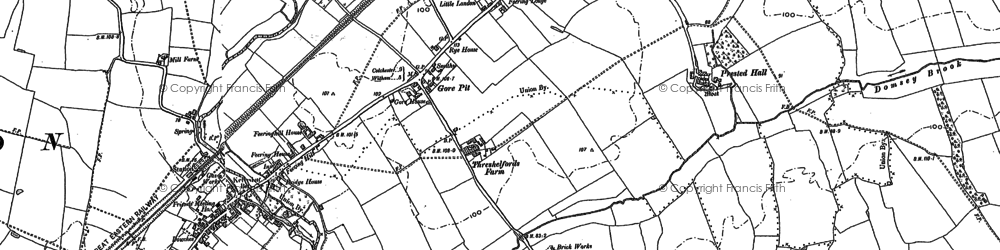 Old map of White Barn in 1895