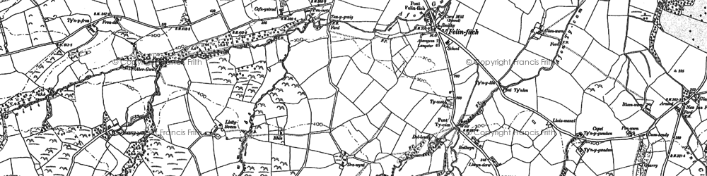 Old map of Ystrad Aeron in 1887