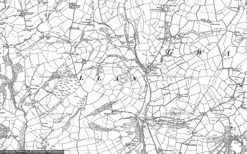 Old Map of Historic Map covering Allt-y-golau-Uchaf in 1886