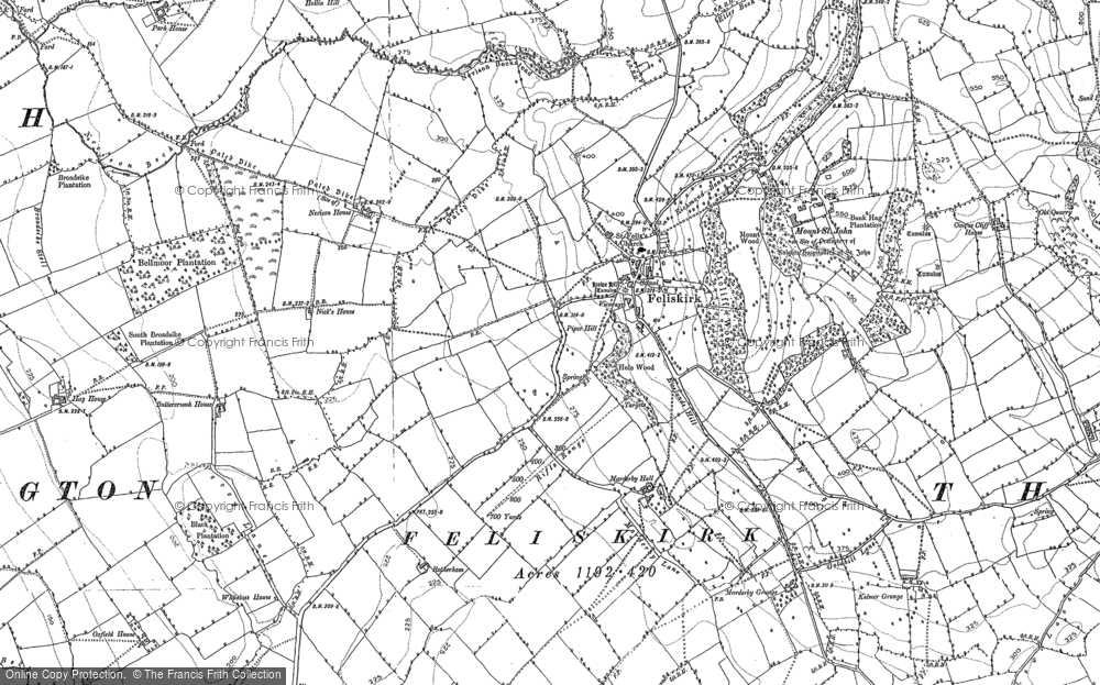 Old Map of Historic Map covering Abbot's Close in 1892