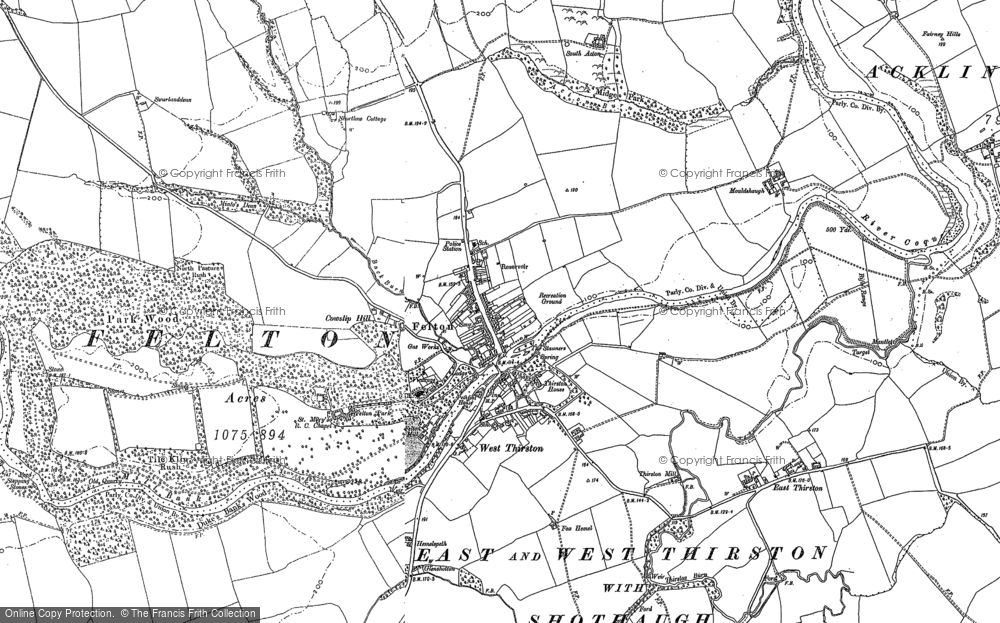 Old Map of Historic Map covering Acton in 1896