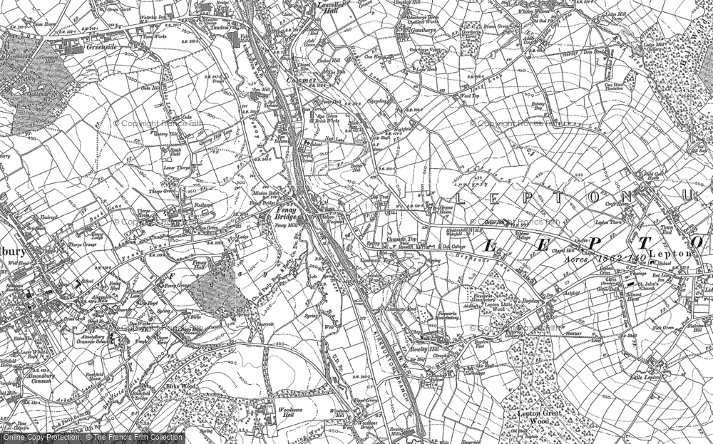 Old Map of Historic Map covering Almondbury Common in 1888
