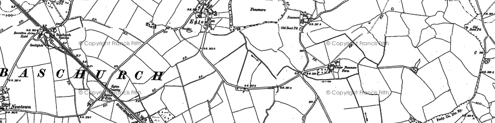 Old map of Leasows, The in 1880