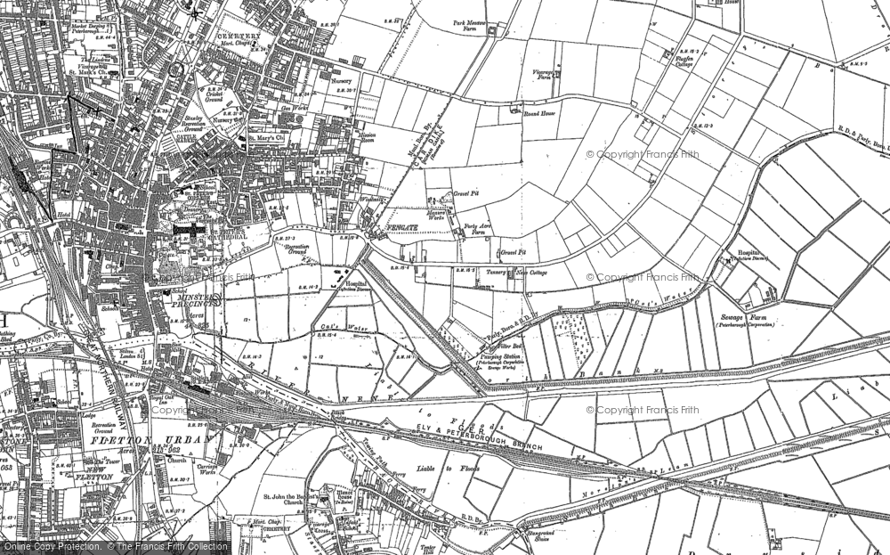 Old Map of Fengate, 1887 - 1900 in 1887