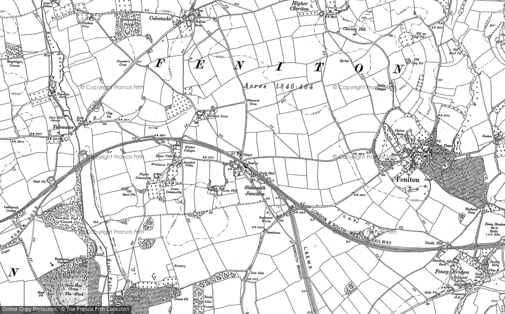 Old Map of Feniton, 1887 in 1887