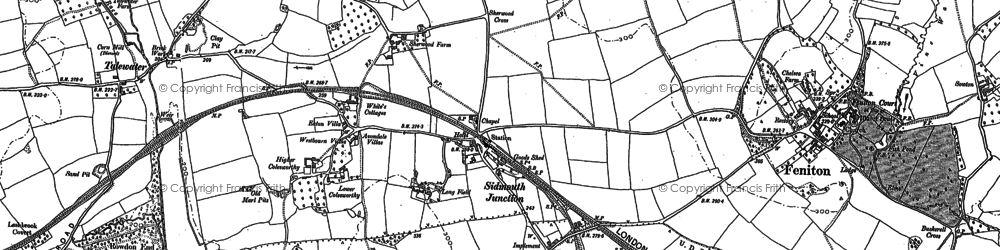Old map of Feniton in 1887