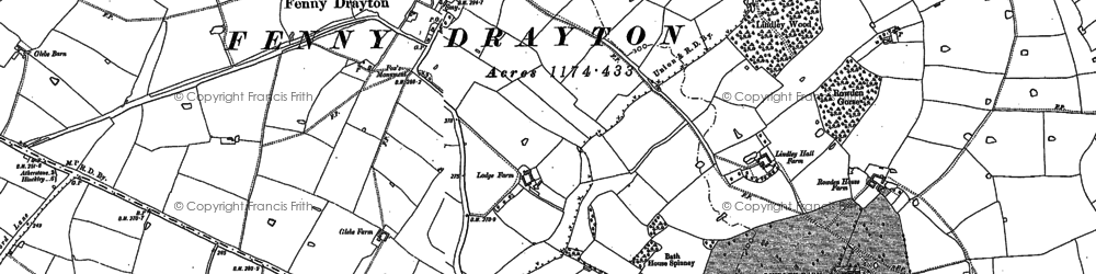 Old map of Lindley Grange in 1887