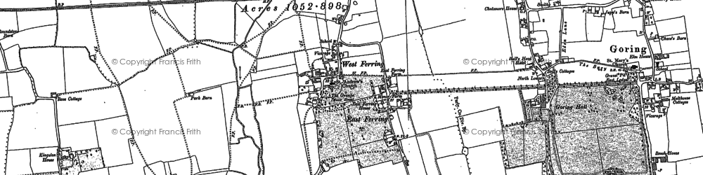 Old map of Ferring in 1896