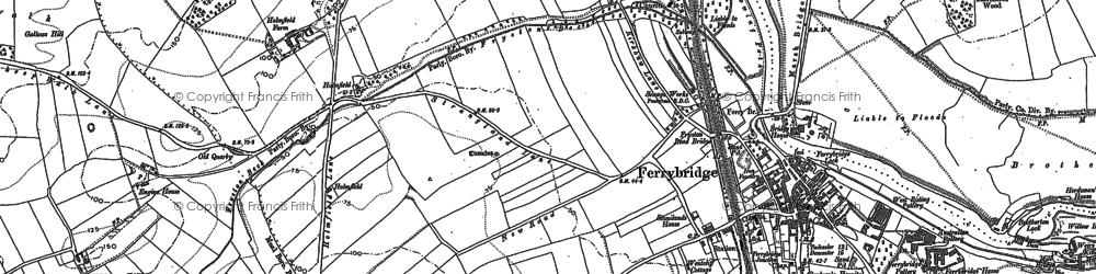 Old map of Ferrybridge in 1890