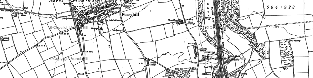 Old map of Ferryhill in 1896