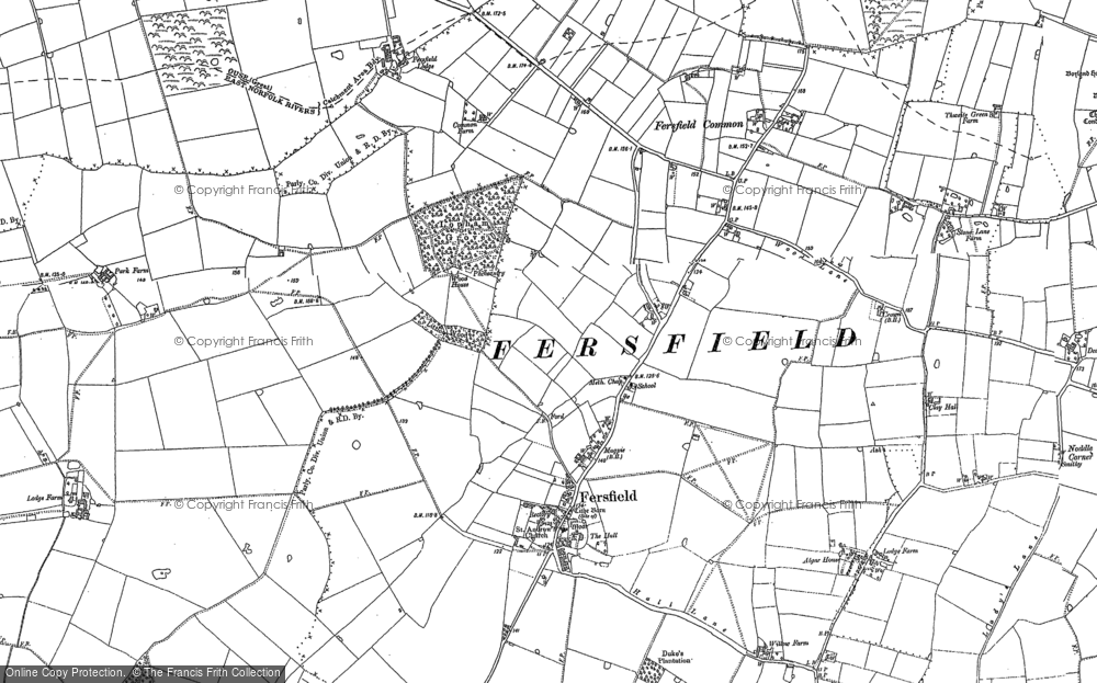 Old Map of Historic Map covering Wilney Green in 1883