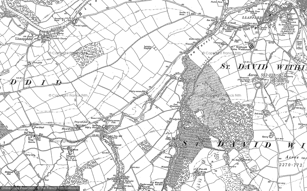 Old Map of Historic Map covering Abergwdi in 1882