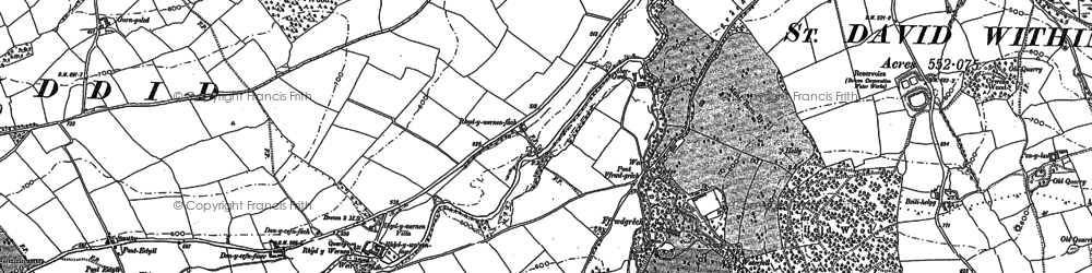 Old map of Abergwdi in 1882