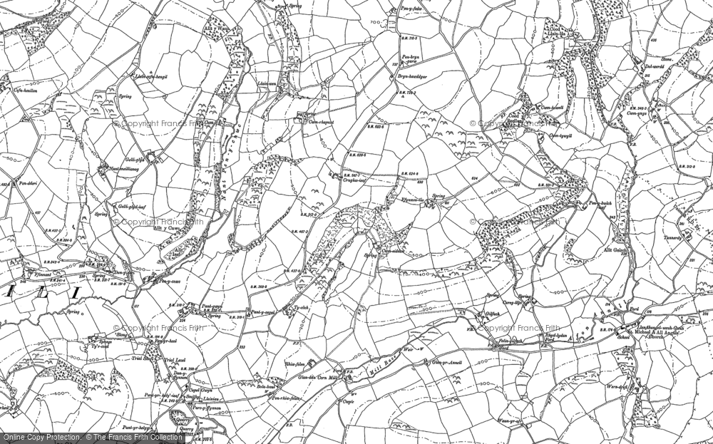 Old Map of Historic Map covering Afon Annell in 1886