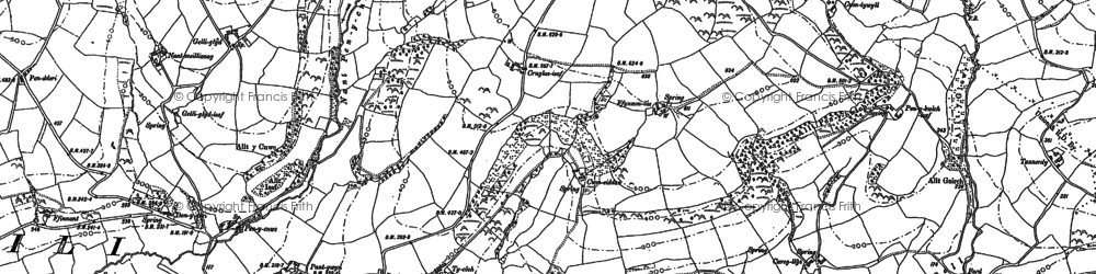 Old map of Afon Annell in 1886
