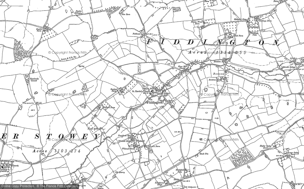 Old Map of Historic Map covering Whitnell in 1886