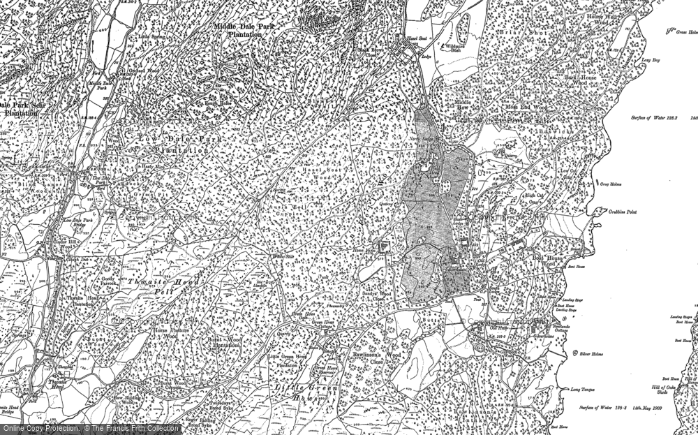 Old Map of Historic Map covering Bark House Wood in 1912