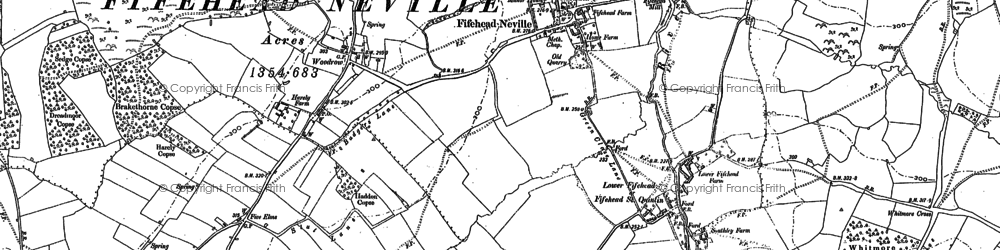 Old map of Fifehead Neville in 1886
