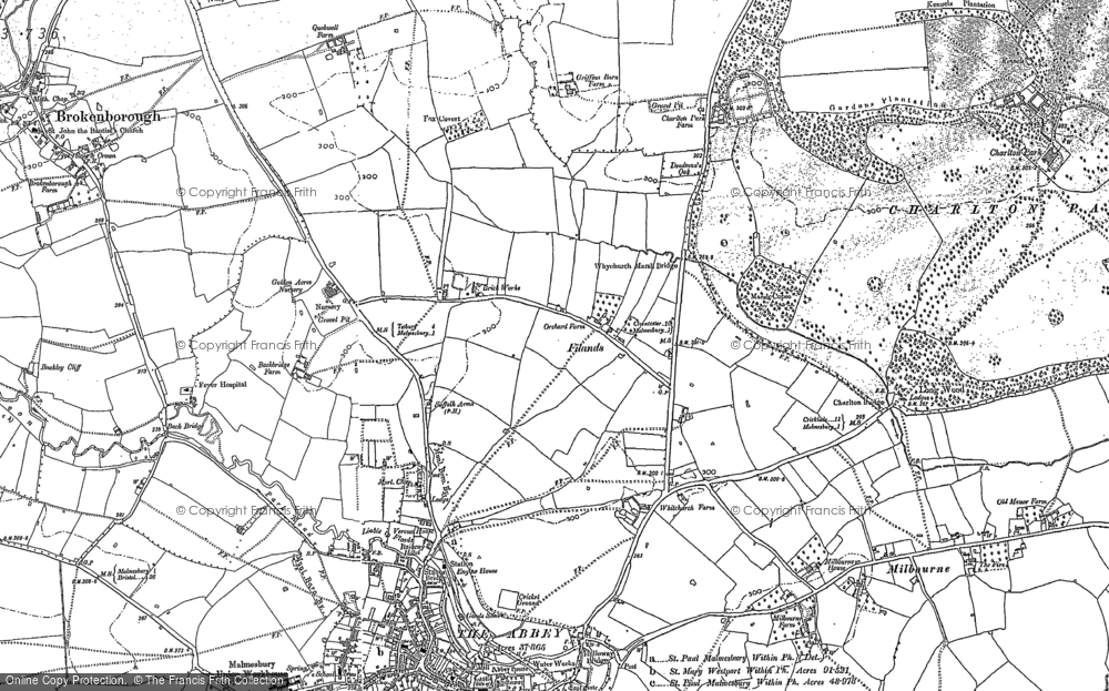 Old Map of Historic Map covering Back Br in 1919