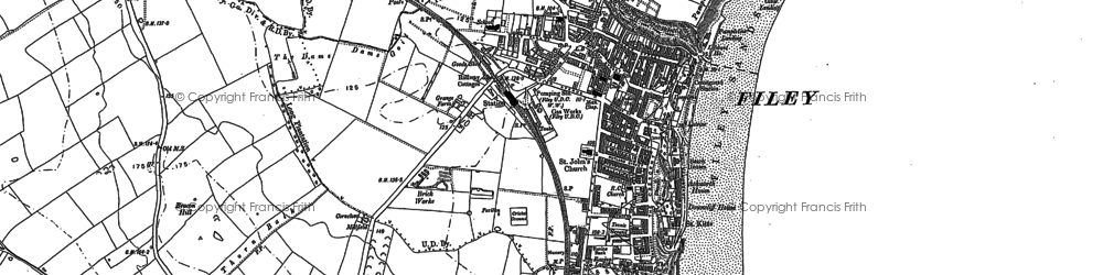 Old map of Filey in 1890