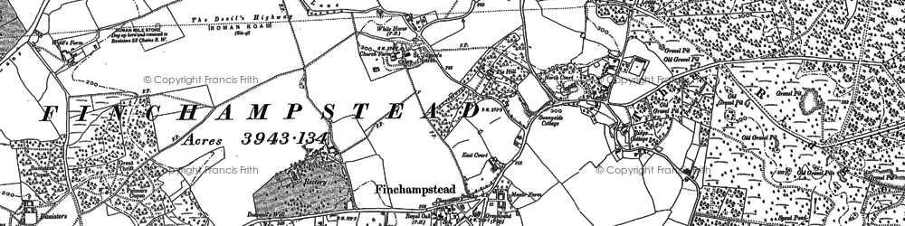 Old map of Finchampstead in 1910