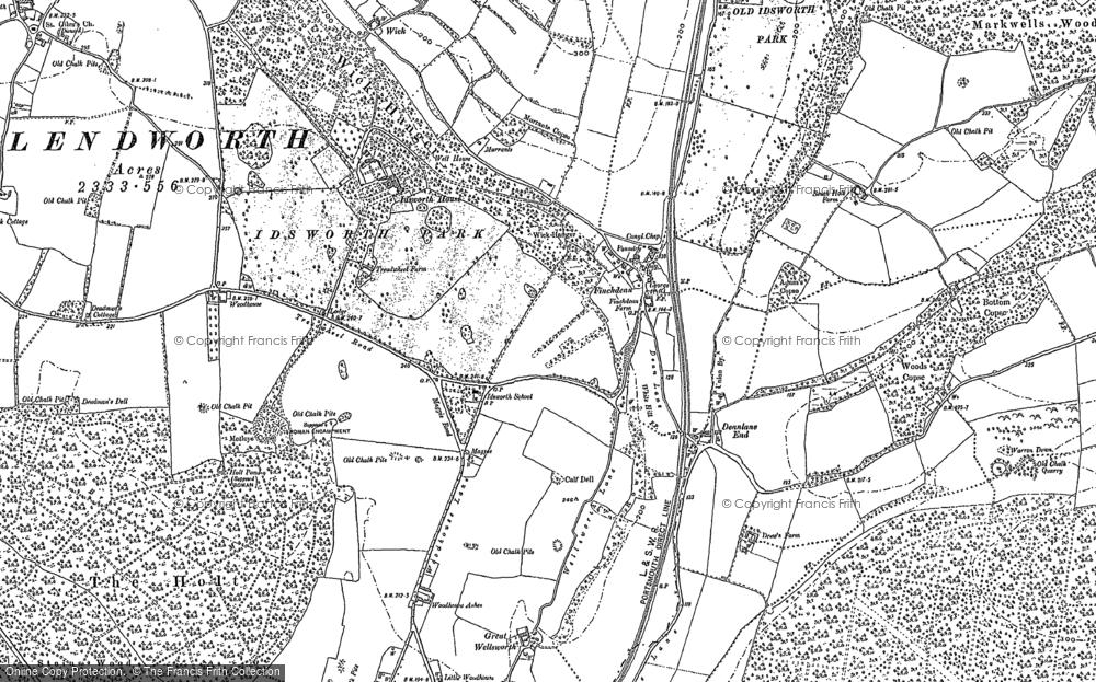 Old Map of Historic Map covering Woodhouse in 1910