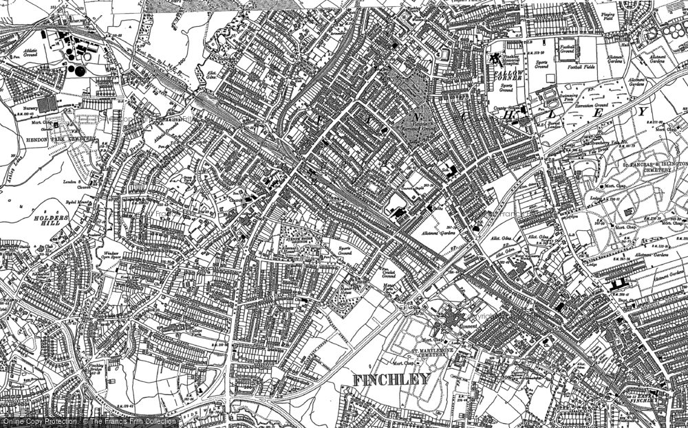 Map of Finchley, 1896 - 1913