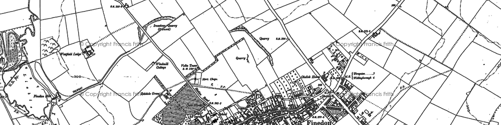 Old map of Finedon in 1884