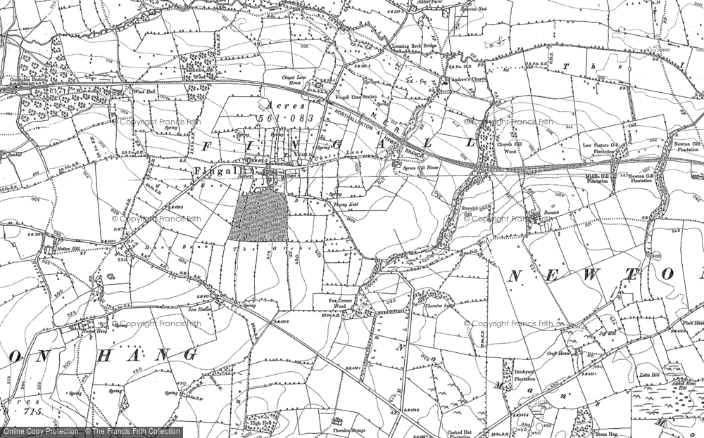 Old Map of Historic Map covering Leeming Beck in 1891