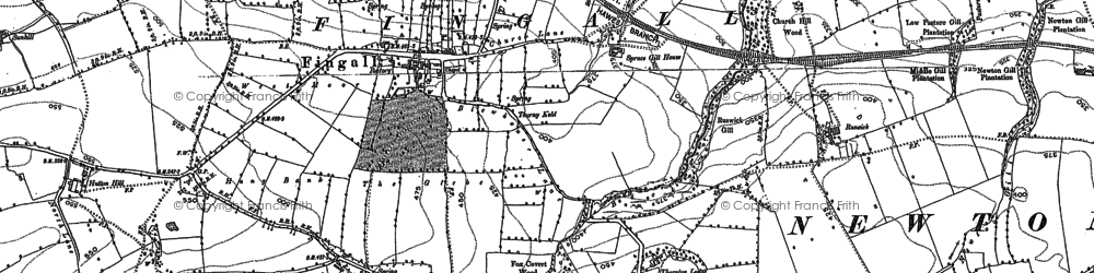 Old map of Akebar Cotts in 1891