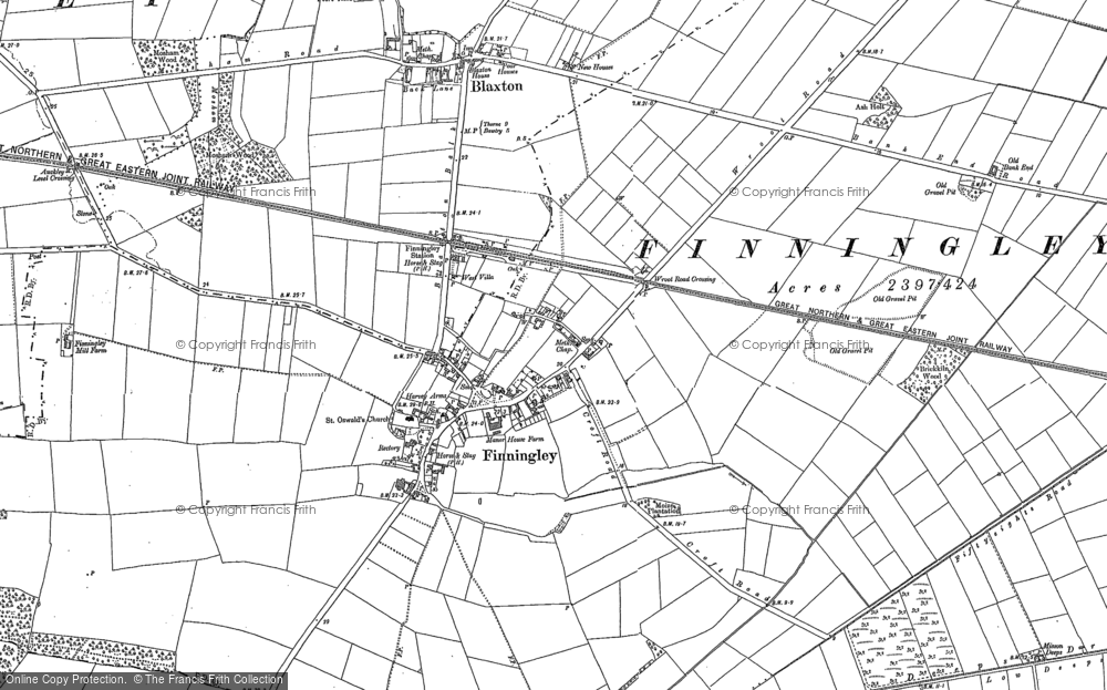 Old Map of Finningley, 1891 - 1901 in 1891