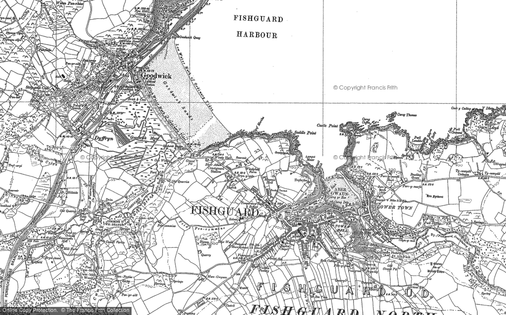 Old Map of Fishguard, 1887 - 1906 in 1887