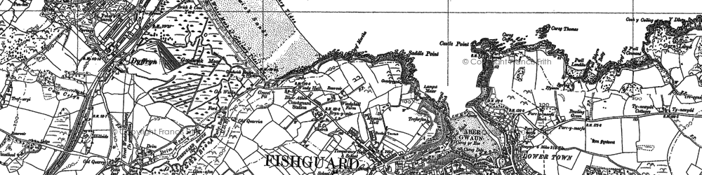 Old map of Fishguard in 1887