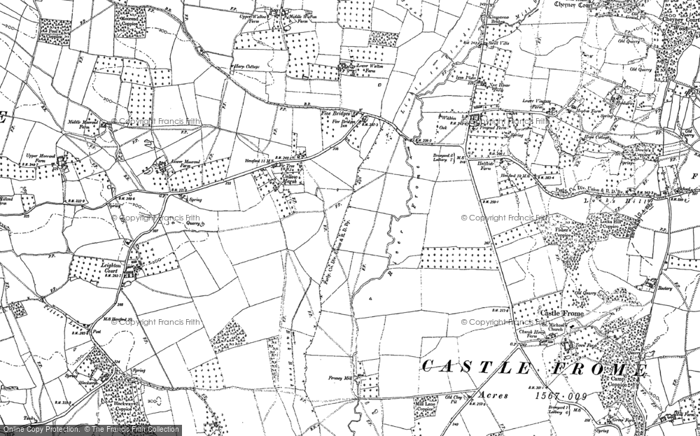 Old Map of Historic Map covering Leighton Court in 1886
