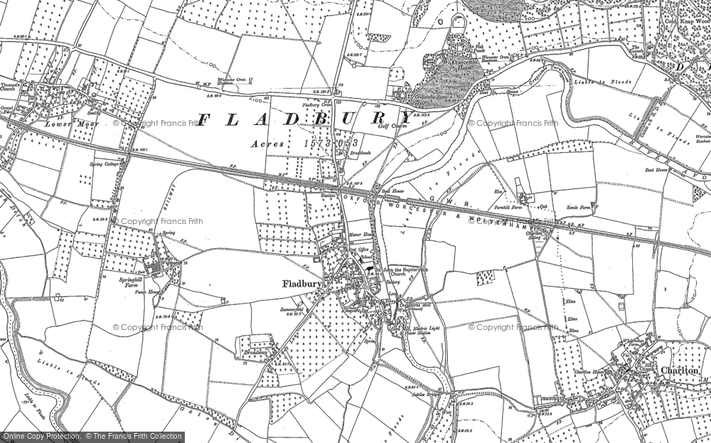 Old map of Fladbury