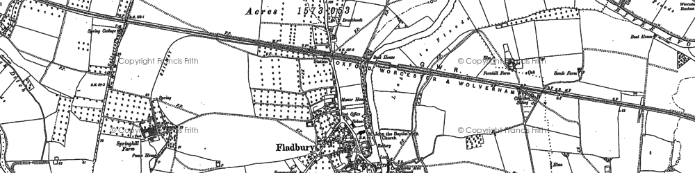 Old map of Fladbury in 1884
