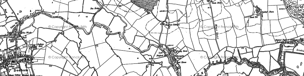 Old map of Flatford Mill in 1896