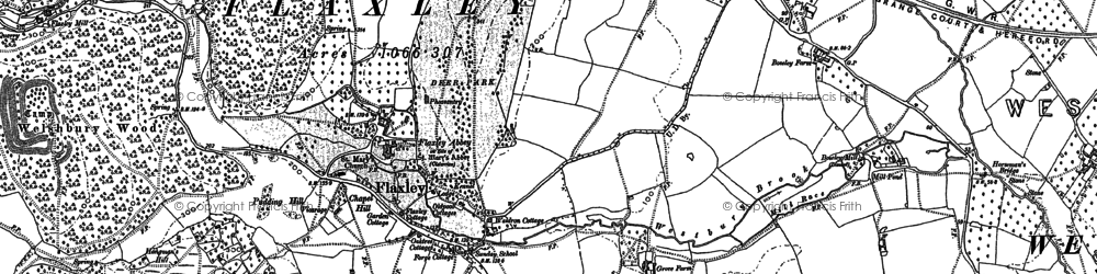 Old map of Flaxley in 1879