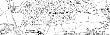 Old map of Boarzell Wood centred on your home