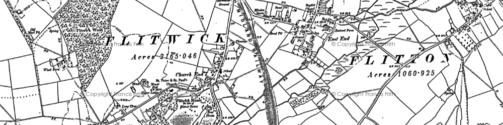 Old map of Flitwick in 1881