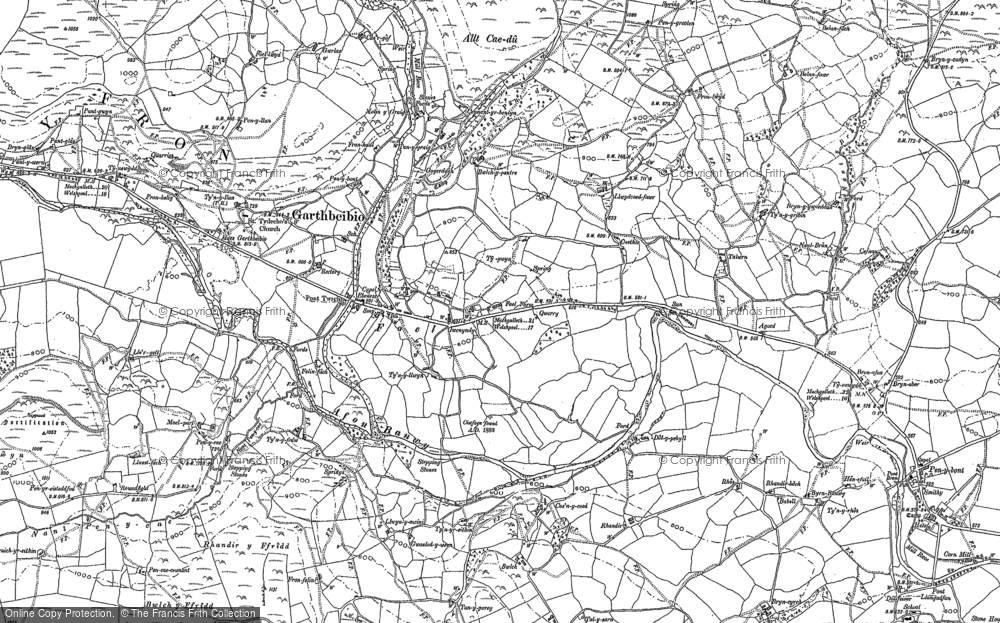 Old Map of Historic Map covering Allt Cae-dû in 1885