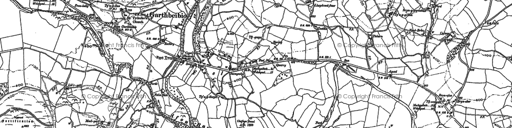 Old map of Allt Cae-dû in 1885