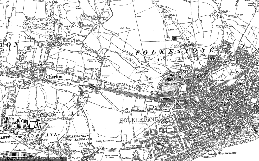 Map Of Folkestone Old Maps of Folkestone   Francis Frith Map Of Folkestone