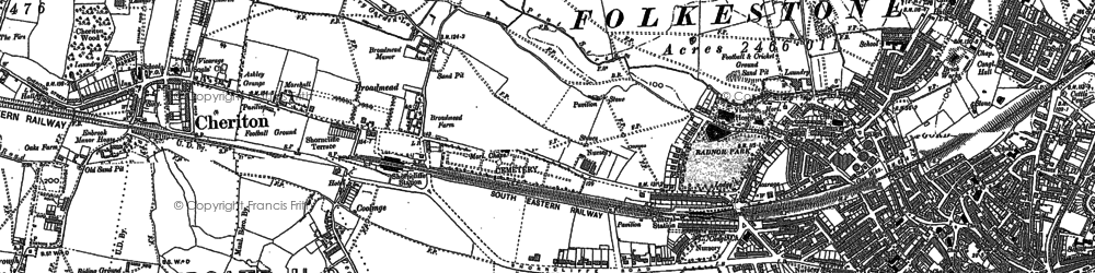 Old map of Folkestone in 1906
