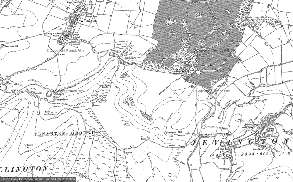 Old Map of Historic Map covering Wootton Manor in 1898
