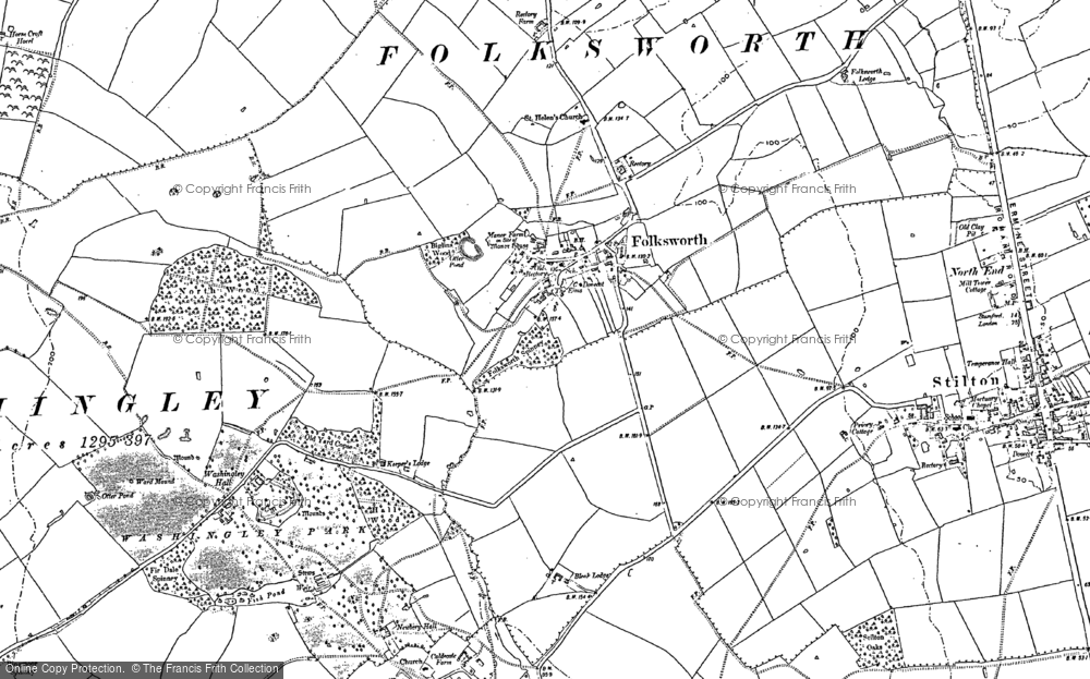 Old Map of Historic Map covering Caldecote in 1887