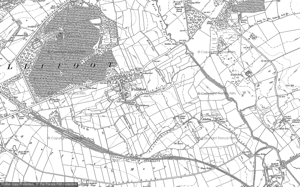 Old Map of Historic Map covering Aketon Lodge in 1889