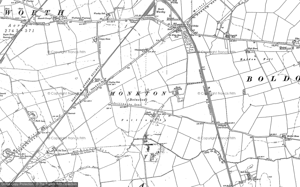 Old Map of Historic Map covering Leam Lane in 1895