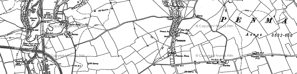 Old map of Fonmon in 1914