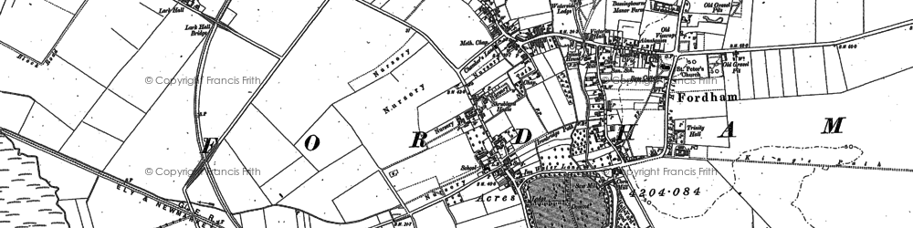Old map of Fordham in 1896